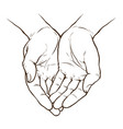 cupped hands folded arms sketch hand drawn vector image