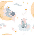 cute unicorn sleeping at cloud in hat vector image vector image