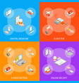 digital medicine 3d banner set isometric view vector image vector image