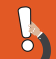 Exclamation Mark In Hand vector image vector image