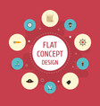 flat icons telescope pirate hat direction and vector image vector image