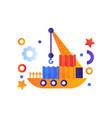 floating crane industrial ship sea travel retro vector image vector image