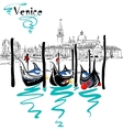 Gondolas in Venice lagoon Italia vector image