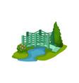 green garden bridge small blue pond blooming vector image vector image