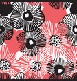 hand drawn black and red daisy flowers background vector image