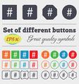 hash tag icon Big set of colorful diverse vector image