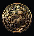 head eagle head on circle gold logo vector image vector image