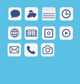 icons application set multimedia icon set on blue vector image vector image
