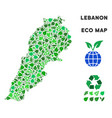leaf green composition lebanon map vector image vector image