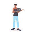 man holding laptop african american guy model in vector image vector image