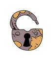 old rusty padlock cartoon hand drawn image vector image vector image