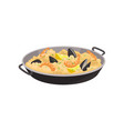 paella with shrimps oysters and slices of lemon vector image