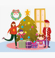 parents and kids with tree gifts merry christmas vector image vector image