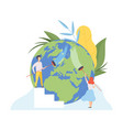 people cleaning earth planet with brushes vector image vector image