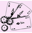 playing chips and poker cards vector image vector image