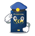 police blue passport in the cartoon form vector image vector image
