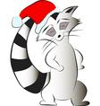 Raccoon Santa Claus vector image vector image