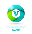 realistic letter v logo in colorful circle vector image vector image