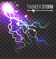 realistic lightning strike blue flash vector image vector image
