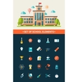 Set of flat design school icons vector image