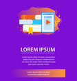 tablet with open website and books vertical banner vector image vector image