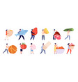 tiny people with food flat foods friends cooking vector image vector image