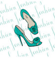 turquoise womens dress shoes with flower vector image