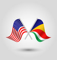 two crossed american and seychelliose flags vector image vector image