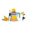 two people pick fruits and berries for juice vector image