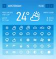 Weather widget icons set vector image vector image