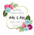 Wedding invitation card with painted flowers vector image vector image