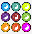 Yin Yang icon sign Nine multi colored round vector image