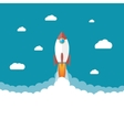 Rocket in the clouds Start up concept vector image