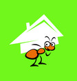 an ant holds a house on its shoulders vector image