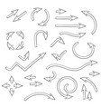 arrows set set doodle icons outline signs vector image vector image