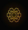 artificial intelligence brain golden icon vector image vector image