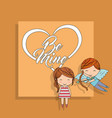 be mine cupid boy with bow and little girl yellow vector image