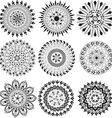 Big set of black and white mandala vector image vector image