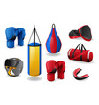 boxing equipment set isolated sport fight mma vector image