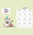calendar 2019 with funny and cute pigpork symbol vector image