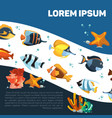 cartoon sealife or ocean with fishes and seaweeds vector image