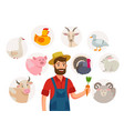 cheerful farmer and his livestock around him set vector image