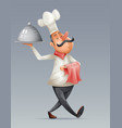 chef cook serving food 3d cartoon elite restaurant vector image vector image