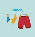 clothes hanging laundry service vector image vector image