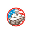 Construction Steel Worker I-Beam USA Flag Circle vector image