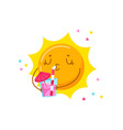 cute cartoon sun character drinking cocktail vector image vector image