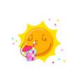 cute cartoon sun character drinking cocktail vector image