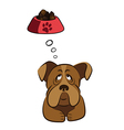 Cute dog thinking about food vector image