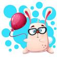 cute funny rabbit rhino with balloon vector image