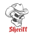 Dangerous skull sheriff in cowboy hat sketch vector image